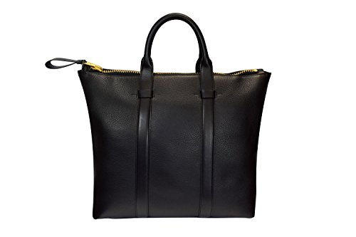 Tom Ford Men's Buckley Black Pebbled Leather Briefcase Tote