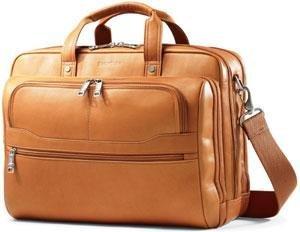 Samsonite Durham Colombian Leather 2 Pocket Briefcase (Tan) - Leather Two Pocket Briefcase