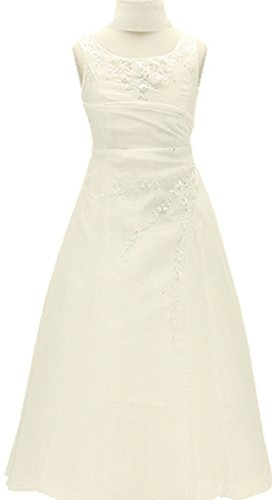 ivory a line chiffon and organza flower girl pageant dress - 4