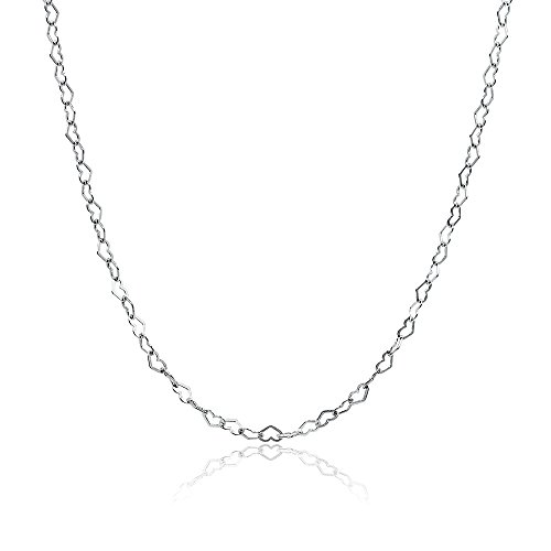 Sterling Silver Heart Link Chain Necklace, 24 Inches (24 Inch Open Link Necklace)