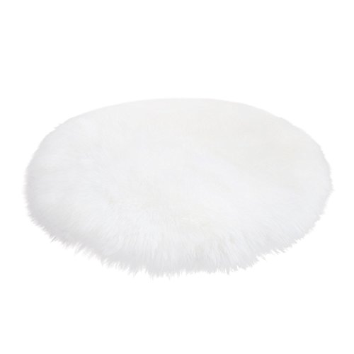 Corner Rugs for Room, Soft Faux Fur Sheepskin Rug Chair Cover Artificial Wool Warm Hairy Carpet Seat Pad-Bedroom, Kids Rooms, Living Room Floor Australian Rug (White 17.7
