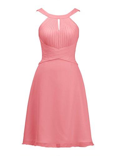 Formal Party Cocktail Chiffon Keyhole Short Dress Coral Bridal Dress Bridesmaid Pink Alicepub n0xX67n