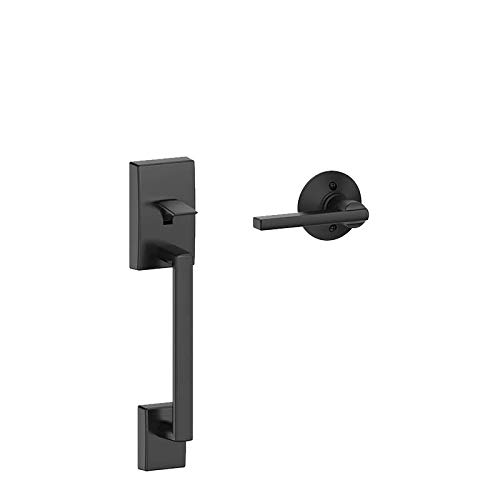 Schlage FE285 CEN 622 LAT Century Trim Lower Half Front Entry Handleset with Latitude Lever, Matte Black ()