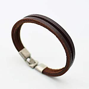 Men's leather bracelet bracelet stainless steel magnetic buckle Brown