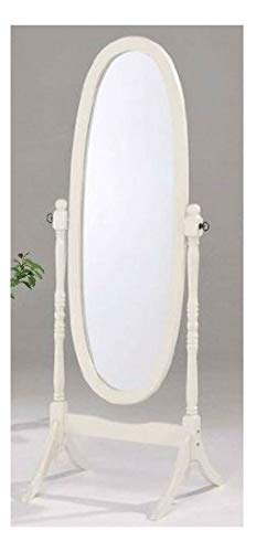 Swivel Full Length Wood Cheval Floor Mirror, White Finish