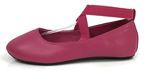 Osito Collection Girls Kids Princess Ankle Wrap Ballet Flats Fuchsia 9 US Toddler - Image 1