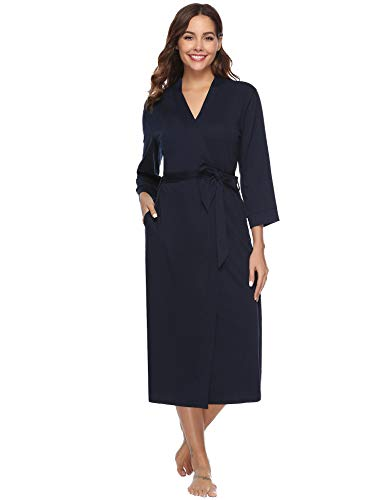 Bathrobes for Women Lightweight Long Robe Knit Bathrobe Summer Cotton Robe Navy Blue ()