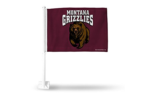Rico NCAA Montana Grizzlies Car Flag, Maroon, with White Pole by Rico