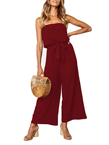 ZESICA Women's Casual Off Shoulder Solid Color Strapless Belted Wide Leg Jumpsuit Romper Wine