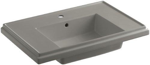 KOHLER K-2758-1-K4 Tresham 30-Inch Pedestal Bathroom Sink Basin with Single-Hole Faucet Drilling, Cashmere (Pedestal Lavatory Cashmere)