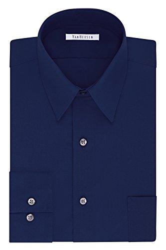Van Heusen Men's Tall Size Big Dress Shirt Fit Poplin, Persian Blue, 20