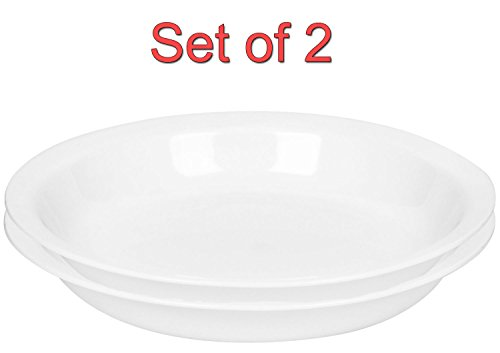 Corelle Livingware 9-Inch Deep Dish Pie Plate, Winter Frost White (2)
