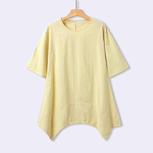 9826c2f6460 Uscharm Plus Size Dress Womens Summer Style Cotton Casual Loose Round Neck  Ladies Short Sleeve Dress