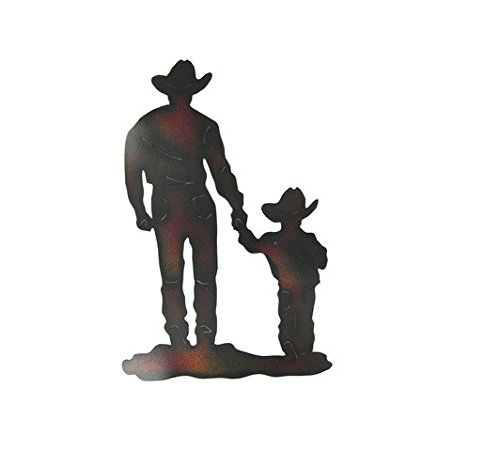 (Rustic Cowboy Art Metal Cowboy and Small Child, Cowboy & Son Wall Art)