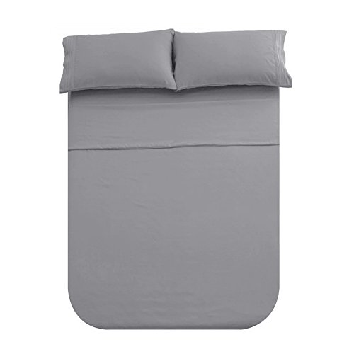 Honeymoon 1800 Brushed Microfiber Embroidered Bed Sheet Set, Ultra Soft, Queen - Gray (Gray Sheet Sets)