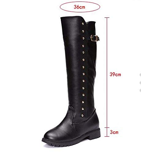 Da 37 Cylinder Stivali 's Spike Boots Heel Donna Boots Round 38 Platform nero Knight Eu High Eu Waterproof Deed 5CA8wq6C