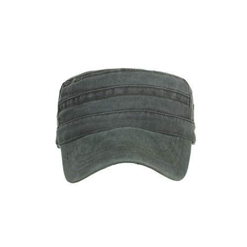 (Washed Cotton Military Caps Cadet Caps Unique Design Vintage Outdoor Sunshade Flat Top Cap Green)