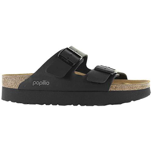 Papillio Womens Arizona Platform Birko-Flor Black Sandals 8 US