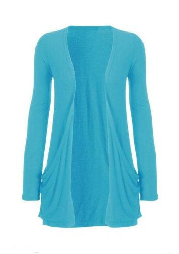 Hot Hanger Ladies Plus Size Pocket Long Sleeve Cardigan 16-26 : Color – Turquoise : Size – 16-18 LXL
