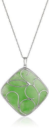Rhodium-Plated Sterling Silver Green Jade Scroll Pendant Necklace, 18""