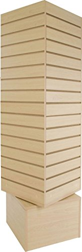 AMKO SW-2020-M Slatwall Rotating Tower in Maple Melamine Finish - Square Spinning Tower for Displaying Socks, Lingerie, and Accessories. Retail Store Fixtures and Equipment