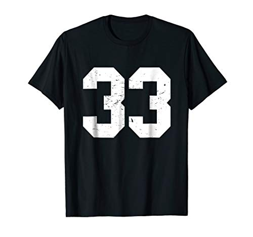 #33 Sports Fan Player T Shirt Number 33 Game Winner Lucky