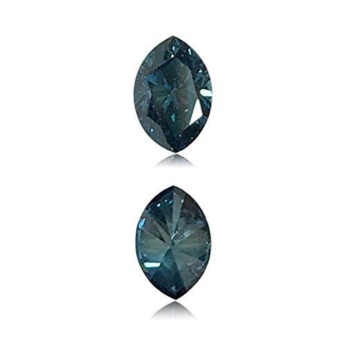 Mysticdrop 0.34 Cts of 3.6x5.4x2.7 mm SI1 Marquise Cut Teal Blue Diamond (1 pc) Loose Color Diamond