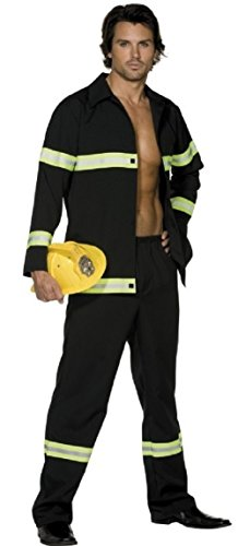 (Adult Mens Sexy Fireman Firefighter Uniform Emergency Service Fever Fancy Dress Costume Outfit (Large (42-44