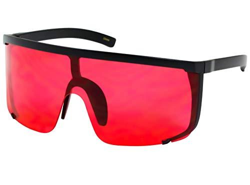 Elite Unisex Oversized Super Shield Mirrored Lens Sunglasses Retro Flat Top Matte Black Frame (Red) (Mens Red Black Sunglasses)