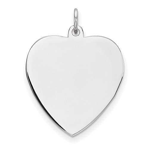 Sterling Silver Engravable Heart Polished Disc Charm (approximately 27 mm x 20 mm) ()