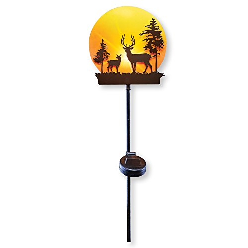 Collections Etc Deer in Sunset Forest Decorative Solar Stake Garden Light for Yard, Lawn, Outdoor Rustic Cabin Decor