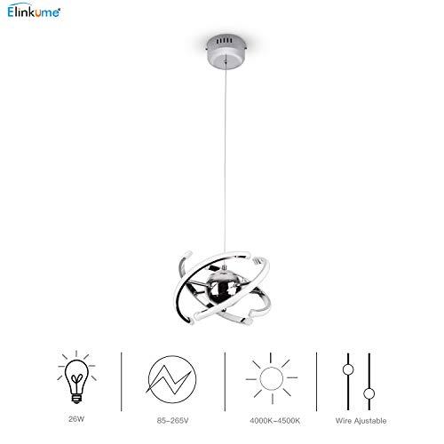 ELINKUME 23W LED Pendant Light, Modern Chandelier Ceiling Light Fixture, AC85-265V 4000K Natural Light, Tube & Cord Adjustable