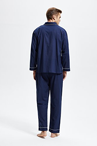 Men's 100% Cotton Pajama Set, Long Sleeve Woven Sleepwear from Tony & Candice (X-Large, Navy Blue with White Piping) by TONY AND CANDICE (Image #4)