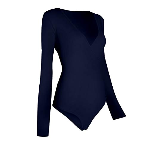 BEEY Womens V Neck Cross Wrap Bodysuit Blouse Jumpsuits (Medium, Black Long Sleeve) by BEEY (Image #1)