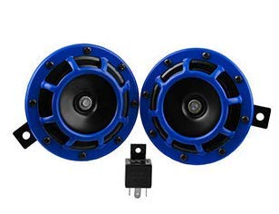 (Anngo Eletric Car Horn Kit 12V 135db Super Loud High Tone and Low Tone Metal Twin Horn Kit with Bracket for Cars Trucks SUVs RVs Vans Motorcycles Off Road Boats (Blue))