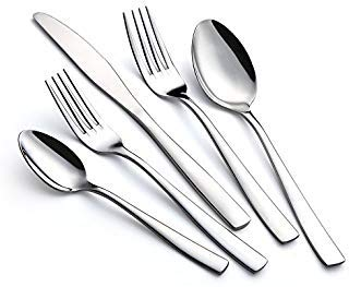 Pippety 20-Piece Luxury Stainless Steel Silverware Flatware Cutlery Set - Modern Design - Service for 4 Includes Knives/Forks/Spoons, Mirror Finish, Dishwasher Safe