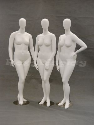 MD-NANCYW1 MD-NANCYW2 MD-NANCYW3 3 standing female mannequins. ROXYDISPLAY/™ Egg Head mannequins with Large size figures and high heel feet feature MD-NANCYW-GROUP