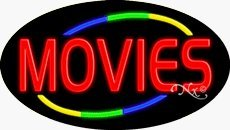 Movies Flashing Neon Sign - 17 x 30 x 2 inches - Made in USA