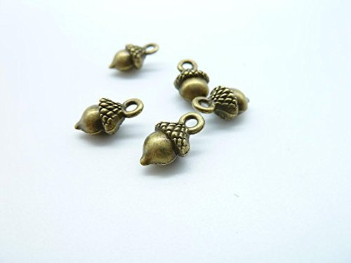 50pcs 6x8x13mm Antique Bronze Lovely Mini 3d Pineal Fruit Acorn Nut Charm Pendant (Acorn Mini Pendant)