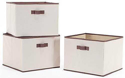 STORAGE MANIAC Foldable Storage Bin with Handles, Storage Basket, Fabric Closet Drawer, Pack of 3