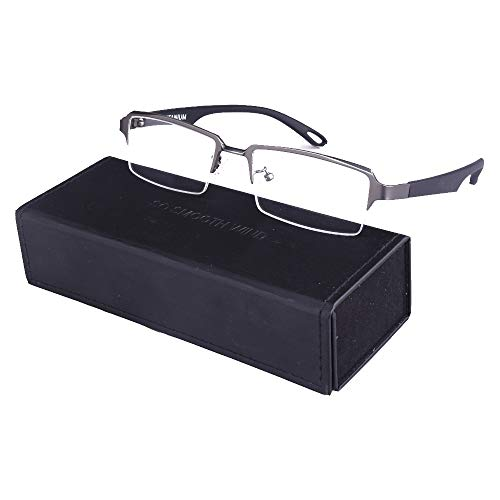 Men Rectangle Pure Titanium Eyeglasses with TR90 Unbreakable Temple Semi Rimless Business Optical Glasses Frame (Gun Grey)