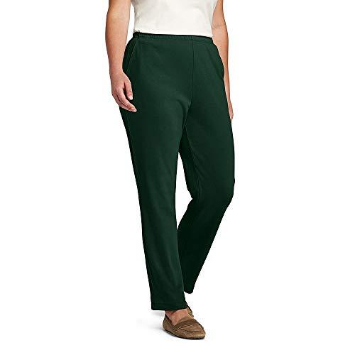 Lands' End Women's Plus Size Sport Knit Elastic Waist Pants High Rise, 2X, Rich Pine