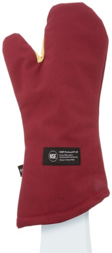 San Jamar KT0218 Cool Touch Flame Conventional High Heat Intermittent Flame Protection up to 900°F Oven Mitt, 17'' Length, Red by San Jamar