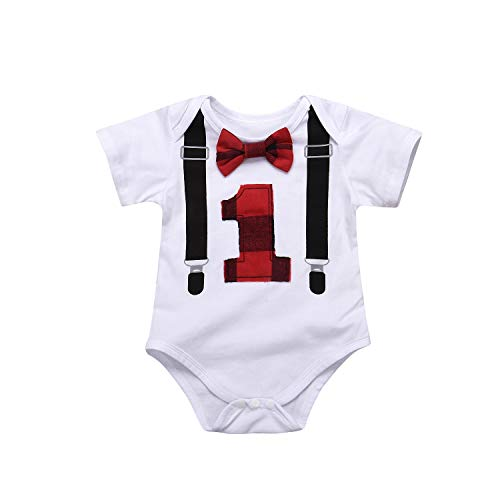 Kisybaby Baby Boys 1st Birthday Bow Tie Toddler Infant Romper Bodysuit Onesie (White, 6-12Months) (First Boy Bow Tie Birthday)