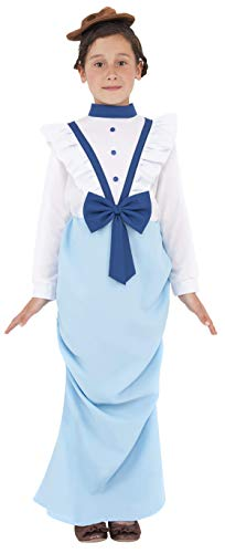 Smiffys Children's Posh Victorian Girl Costume, Dress & Hat, Ages 10-12, Size: Large, Color: White and Blue, Ages 10-12, Size: Large, 38638 -