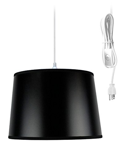 Plug-In Pendant Light By Home Concept – Hanging Swag Lamp Black Parchment with Gold liner – Perfect for apartments, dorms, no wiring needed (Black, White One-light) Review