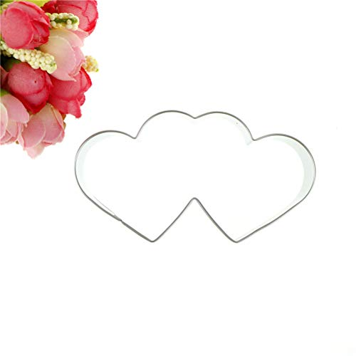 Diy Mould 3D Mold Baking Tools Stainless Steel Metal Supplies Double Heart Cookies Cutter Cake Sweet Love Pastry