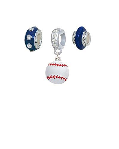 Silvertone Large White Enamel Baseball Navy Charm Beads (Set of 3)