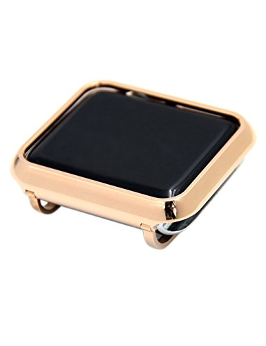 Callancity Metal Rose Gold case Bezel face Cover Compatible with Apple Watch Series 3 2 1 38mm Non Ceramic Edition