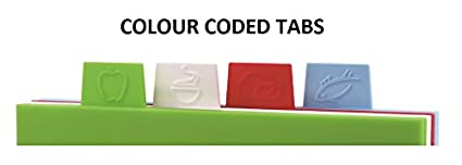 Premium 4pc Index Colour Coded Chopping Board Set   Extra Thick 8mm Boards With Stand   Compact, Great For Meat, Fish, Vegetables, Cooked Food & Extra Chopping Space By Kitchen Stars by Kitchen Stars